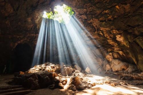19448725 - sun beam in cave